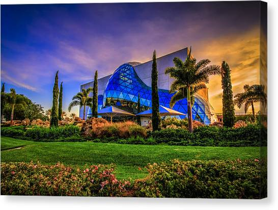 Palm Trees Sunsets Canvas Print - The Dali Museum by Marvin Spates