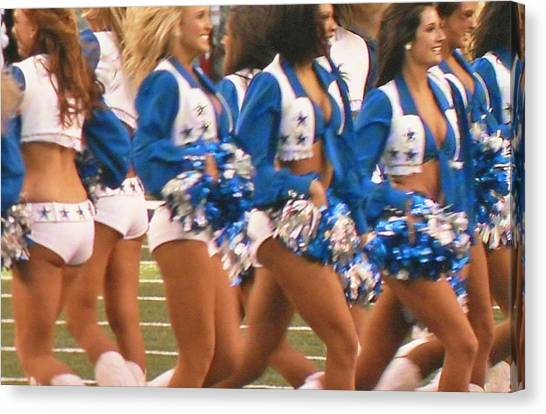 Dallas Cowboys Cheerleaders Canvas Print - The Dallas Cowboys Cheerleaders by Donna Wilson