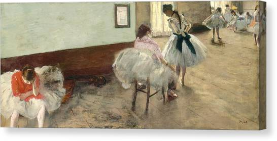 Edgar Degas Canvas Print - The Dance Lesson by Edgar Degas