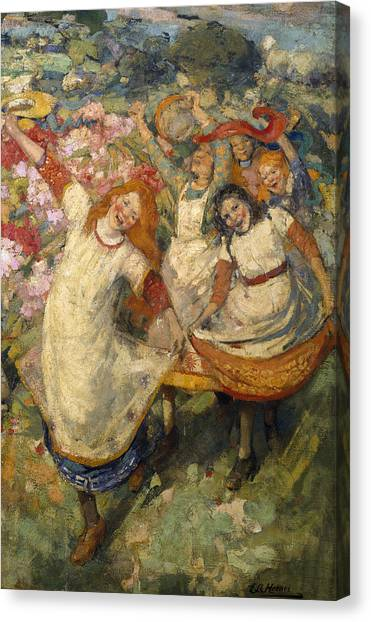 Pinafores Canvas Print - The Dance Of Spring by Edward Atkinson Hornel