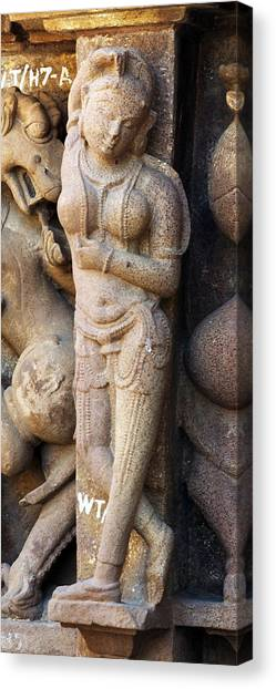 Khajuraho Dancer Canvas Print - The Dancer In Stone Cropped by C H Apperson