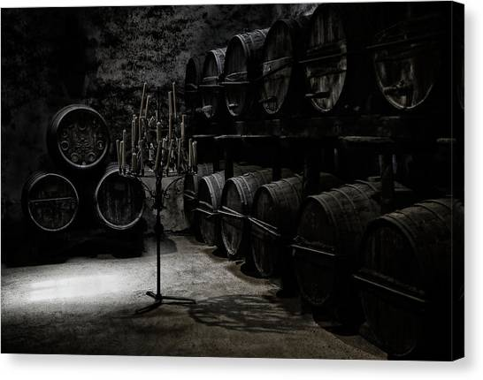 Winery Canvas Print - The Dark Atmosphere Of An Old Wine Cellar by Hans-wolfgang Hawerkamp