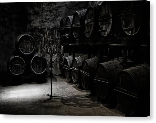 Warehouses Canvas Print - The Dark Atmosphere Of An Old Wine Cellar by Hans-wolfgang Hawerkamp