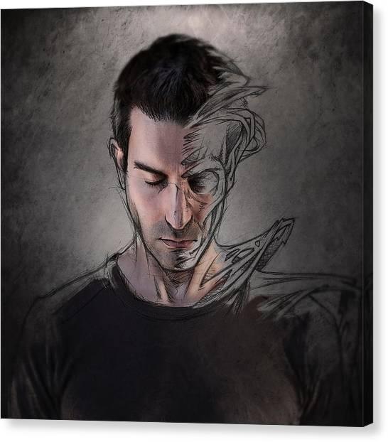 The Dark Side Of The Sketch Canvas Print by Sebastien Del Grosso
