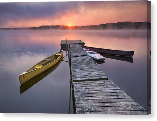 Kayaks Canvas Print - The Day Begins by Darylann Leonard Photography