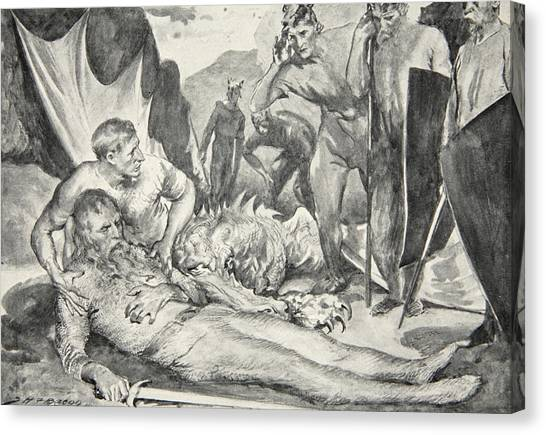 Bacon Canvas Print - The Death Of Beowulf by John Henry Frederick Bacon