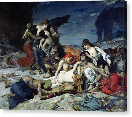 Hinduism Canvas Print - The Death Of Ravana by Fernand Cormon
