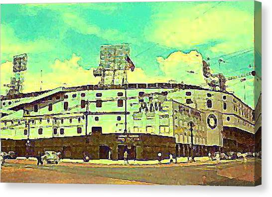 The Detroit Tigers Briggs Stadium In The 1950s Canvas Print