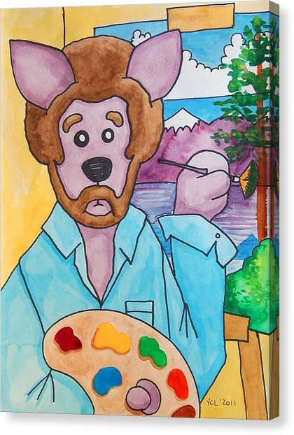 Bob Ross Canvas Print - The Dingo Starring As Bob Ross by Yvonne Lozano