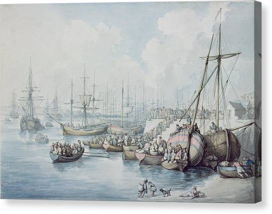 Immigration Canvas Print - The Disembarkation Of The Royalists Of Toulon At Southampton In 1794 by Thomas Rowlandson