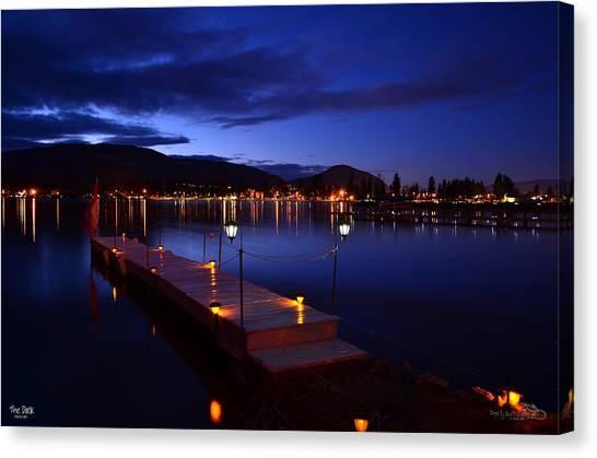 The Dock At Night- Skaha Lake 02-21-2014 Canvas Print