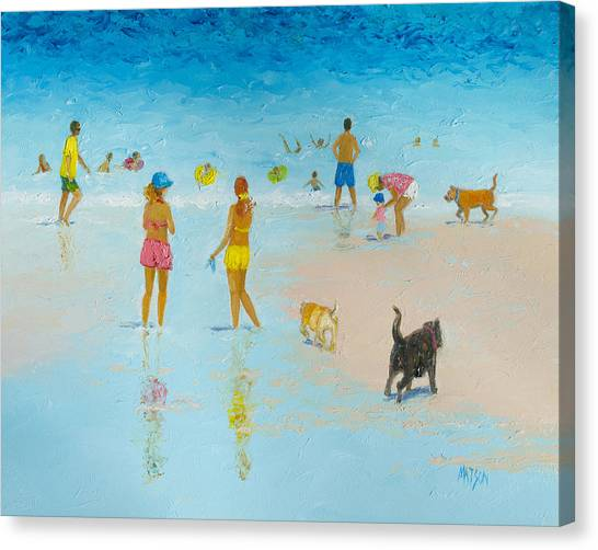 Beach Resort Vacation Canvas Print - The Dog Beach by Jan Matson