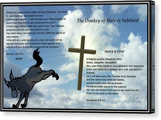 The Donkey Of Hate Is Subdued Canvas Print
