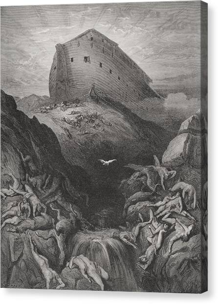 Holy Bible Canvas Print - The Dove Sent Forth From The Ark by Gustave Dore