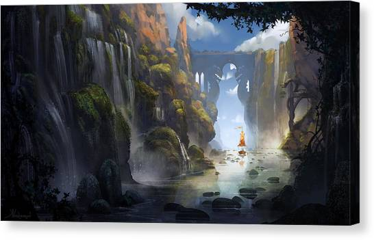 Dragons Canvas Print - The Dragon Land by Kristina Vardazaryan