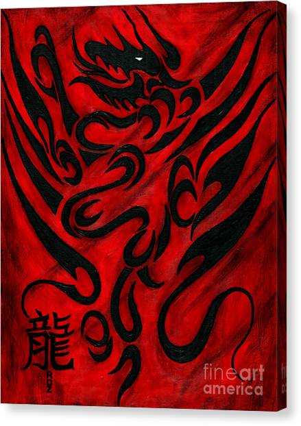 Kung Fu Canvas Print - The Dragon by Roz Abellera