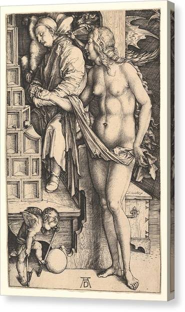 Erotic Framed Canvas Print - The Dream Of The Doctor by Albrecht Duerer