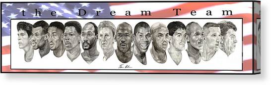 Larry Bird Canvas Print - the Dream Team by Tamir Barkan