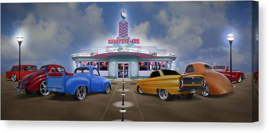 Grills Canvas Print - The Drive In by Mike McGlothlen