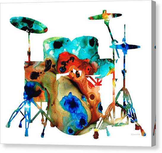 Musical Instruments Canvas Print - The Drums - Music Art By Sharon Cummings by Sharon Cummings