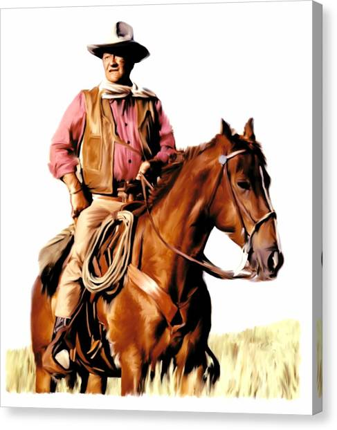 Hollywood Canvas Print - The Duke  John Wayne by Iconic Images Art Gallery David Pucciarelli