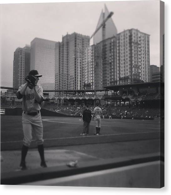 Knights Canvas Print - The Durham Bull's Pitcher Warmed Up In by Stacy C Bottoms