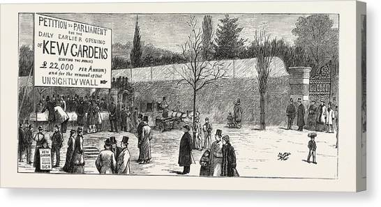 Garden Scene Canvas Print - The Earlier Opening Of Kew Gardens  Scene On Easter Monday by English School