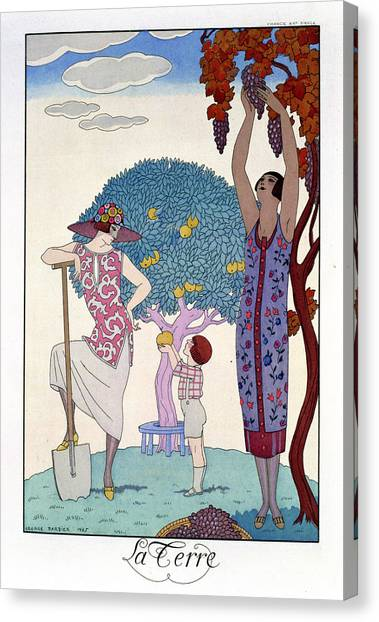 Shovel Canvas Print - The Earth by Georges Barbier