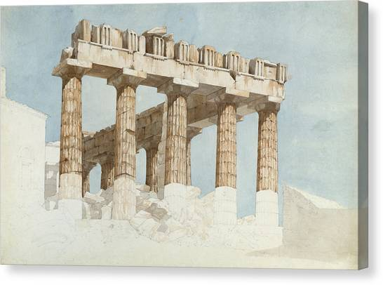 The Acropolis Canvas Print - The East End And South Side Of The Parthenon, C.1813 Wc & Graphite On Paper by John Foster