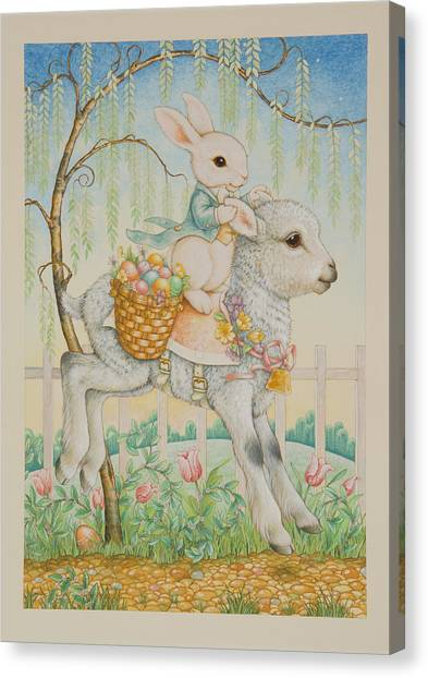 Easter Baskets Canvas Print - The Easter Bunny Is Coming To Town by Lynn Bywaters