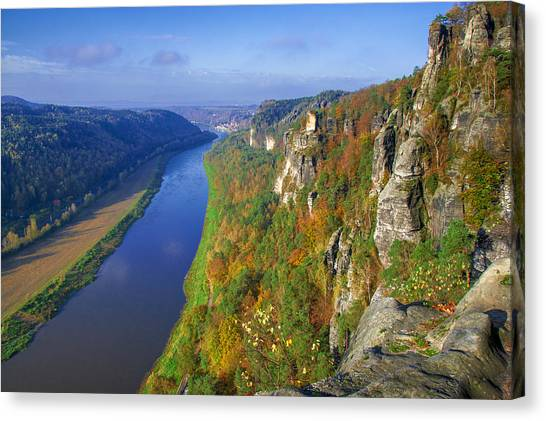 The Elbe Sandstone Mountains Along The Elbe River Canvas Print