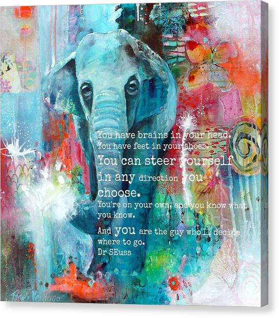Large Mammals Canvas Print - The Elephant And The Butterfly Drseuss Quote by Tracy Verdugo