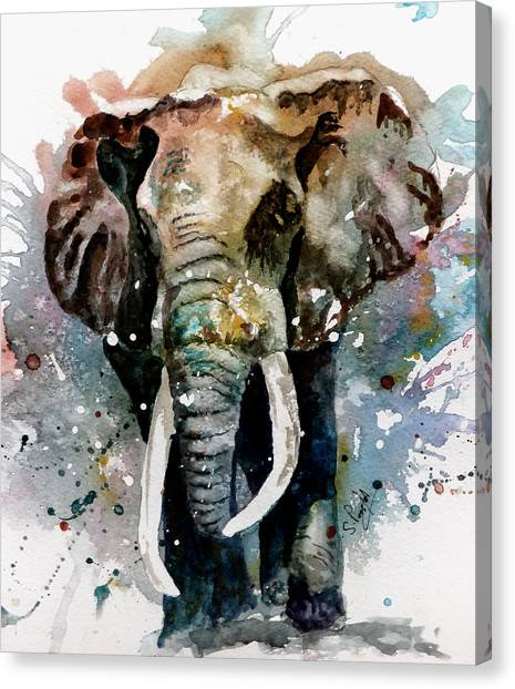 Trumpet Canvas Print - The Elephant by Steven Ponsford