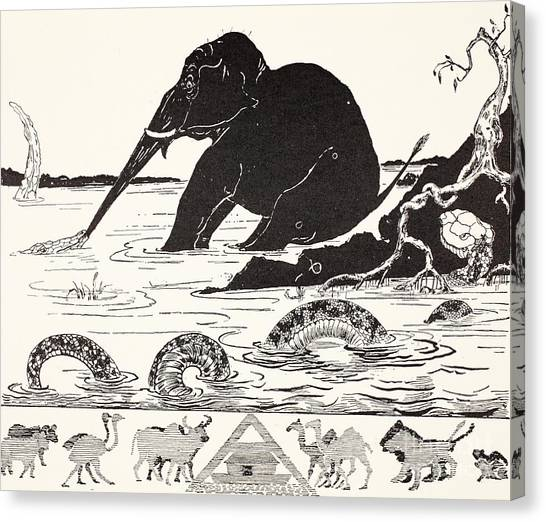 Pythons Canvas Print - The Elephant's Child Having His Nose Pulled By The Crocodile by Joseph Rudyard Kipling