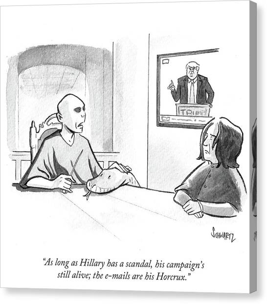 Hillary Clinton Canvas Print - The Emails Are His Horcrux by Benjamin Schwartz