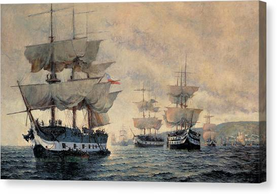 Chilean Canvas Print - The Embarkation Of The Liberating Expedition Of Peru On The 20th August 1820 by Antonio A Abel