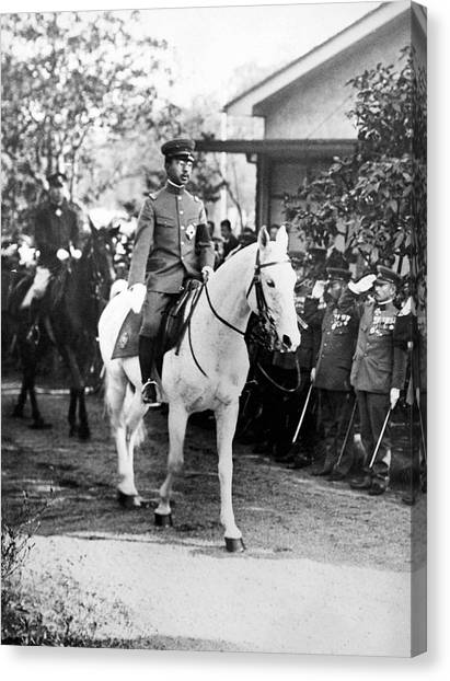 Scouting Canvas Print - The Emperor Hirohito Of Japan by Underwood Archives