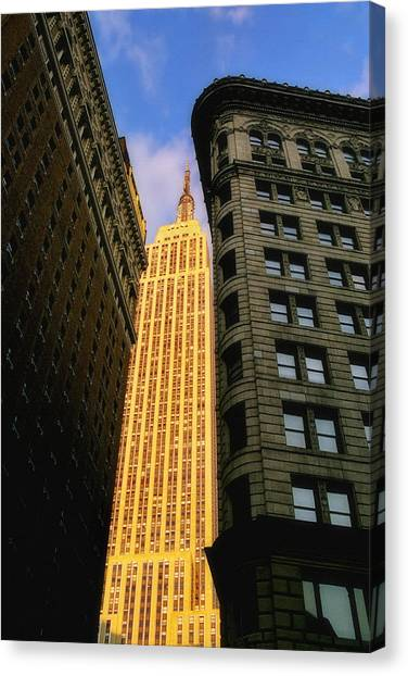 City Sunrises Canvas Print - The Empire State Building From Herald Square by Joann Vitali