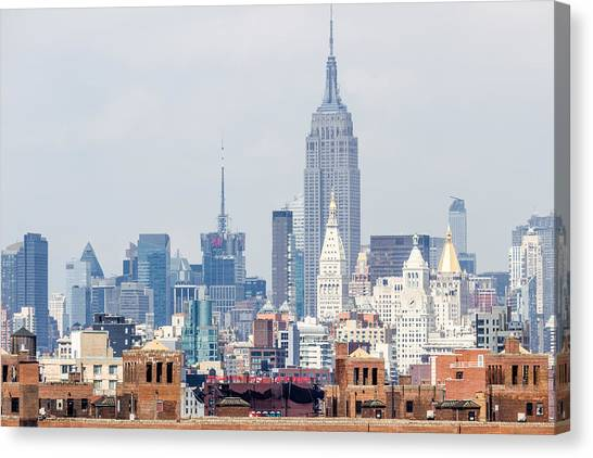 The Empire State Building From The Brooklyn Bridge Canvas Print