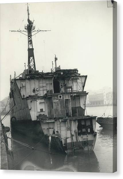 The End Of A Brave Little Ship. H.m. S. Amethyst In Canvas Print by Retro Images Archive