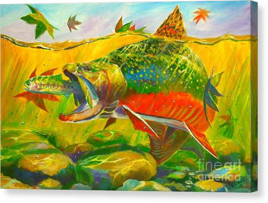 Fly Fishing Canvas Print - The End Of The Rainbow  by Yusniel Santos