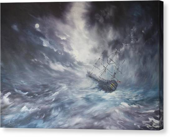 The Endeavour On Stormy Seas Canvas Print