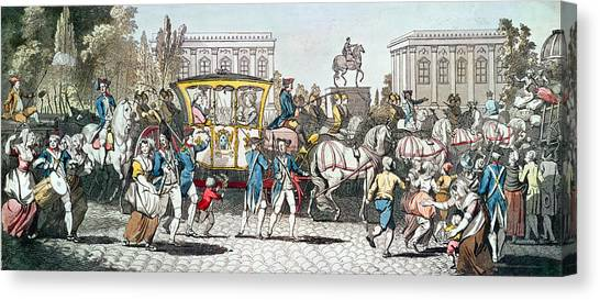 Royal Guard Canvas Print - The Entry Of Louis Xvi 1754-93 Into Paris, 6th October 1789 Coloured Engraving by English School