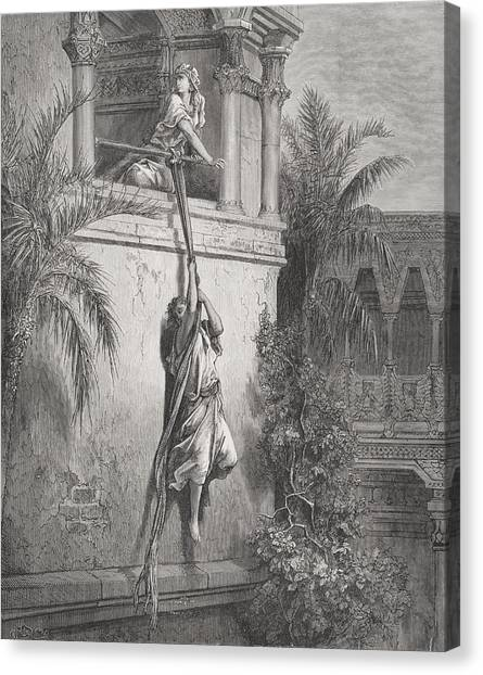 Holy Bible Canvas Print - The Escape Of David Through The Window by Gustave Dore