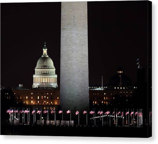 The Essence Of Washington At Night Canvas Print