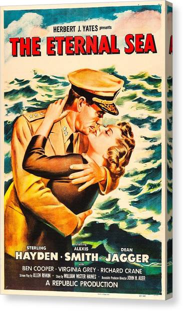 1950s Movies Canvas Print - The Eternal Sea, Us Poster, From Left by Everett
