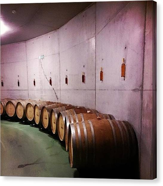 Wine Barrels Canvas Print - The Evolution Of #bottle #ageing #wine by Qin Xie