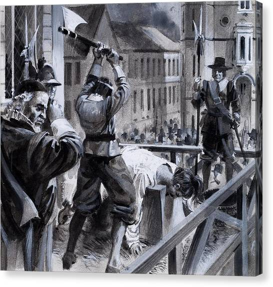 Royal Guard Canvas Print - The Execution Of King Charles I by Andrew Howat