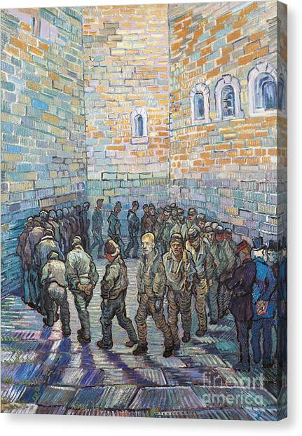 Post-impressionism Canvas Print - The Exercise Yard by Vincent Van Gogh