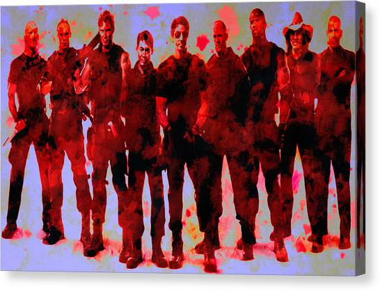Stallone Canvas Print - The Expendables by Brian Reaves